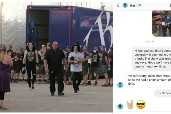 Au centre de l'image, Slash, la légende vivante du rock. Va-t-il s'arrêter pour saluer Valentin, le luthier qui lui a offert il y a deux ans au Stade de France une superbe guitare double-manche ? Suspens.