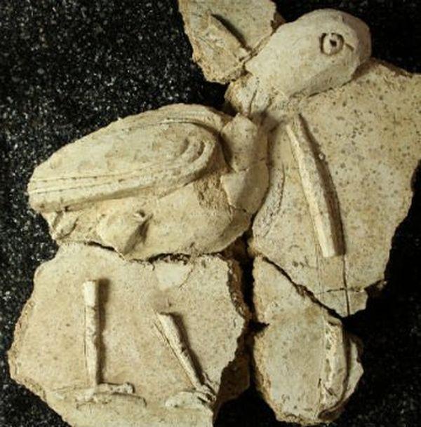 reconstitution d'un oiseau en stuc découvert sur le site d'Entrains-sur-Nohain