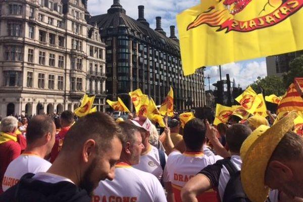 Les supporters des Dragons Catalans à Londres samedi 25 août 2018