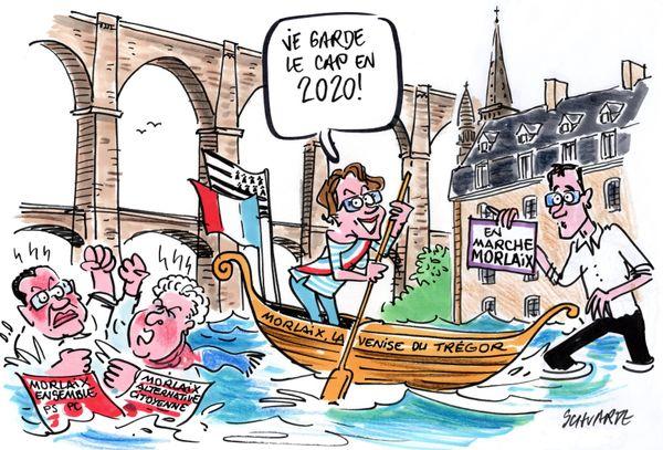 La campagne des municipales à Morlaix, vue par Loïc Schvartz