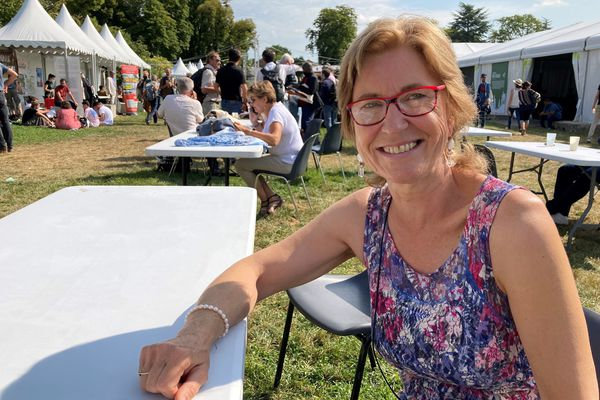 Pascale Delmaere, sympathisante EELV, vendredi 20 août 2021, est venue de Giverny (Eure) pour assister aux Journées d'été des écologistes.