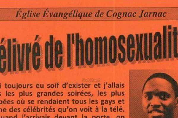 Le tract distribué dans les boîtes aux lettres de Jarnac (16) au nom de l'Eglise Evangélique
