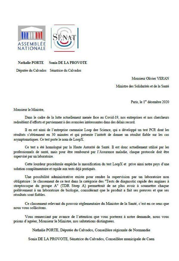 courrier adressé à Olivier Veran