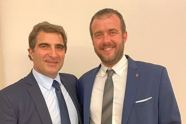 Lewis Marchand candidat LR à Béziers avec Christian Jabob, président des Républicains - archives