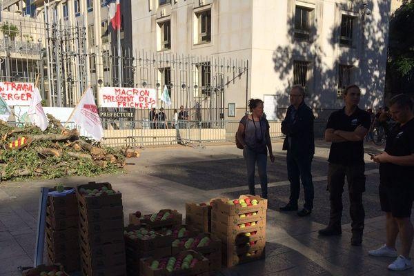 Des agriculteurs manifestent devant la Préfecture à Montpellier.