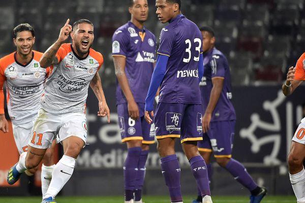 Andy Delort, après un but contre Toulouse, lors d'un derby régional en ligue 1, fin octobre 2018.