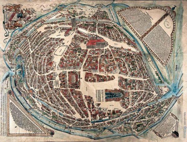"""Le """"Plan Morant"""" de Strasbourg, réalisé en 1548 par Conrad Morant, fait partie des archives qui ont pu inspirer les concepteurs de l'application."""
