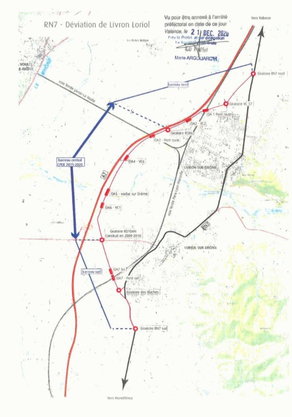 Le projet de déviation de Loriol-sur-Drôme et Livron-sur-Drôme, tel qu'il a été acté par la Dreal en décembre 2020.