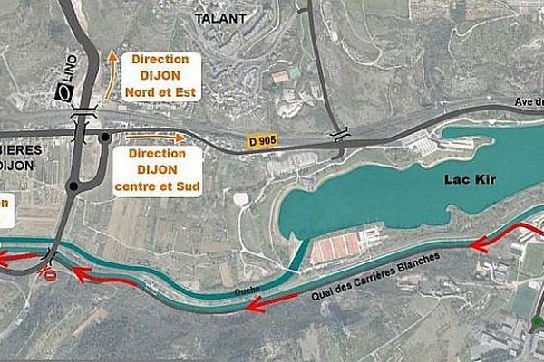 A partir du lundi 10 février 2014, le sens de circulation sera inversé entre l'A38 et le quai des Carrières blanches à Dijon