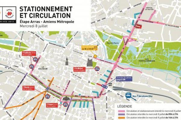 Plan de stationnement et de circulation pour l'arrivée à Amiens du Tour de France 2015