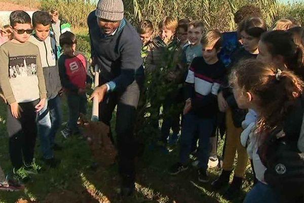 Jean-Paul Wabotaï et les enfants des écoles de Villeneuve-les-Maguelone en train de planter