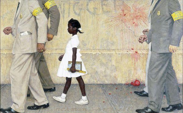 Norman Rockwell (1894-1978), Le problème qui nous concerne tous, 1963. Huile sur toile, 91,4x148,1 cm. Illustration pour Look du 14 janvier 1964. Collection du Norman Rockwell Museum.