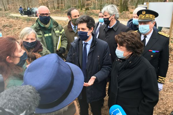 La ministre de la Culture Roselyne Bachelot et le ministre de l'Agriculture Julien de Normandie sont en visite dans la forêt de Bercé (Sarthe), vendredi 5 mars 2021.