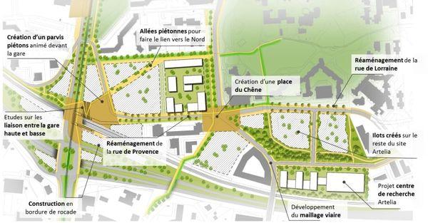 Projet pour le réaménagement du quartier de la gare d'Echirolles.