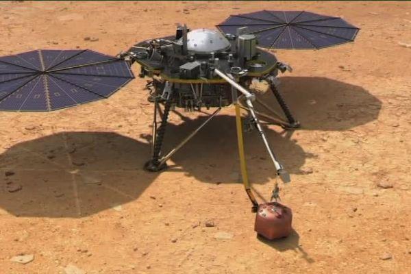 Le sismomètre sera déposé sur le sol grâce à un bras robotique