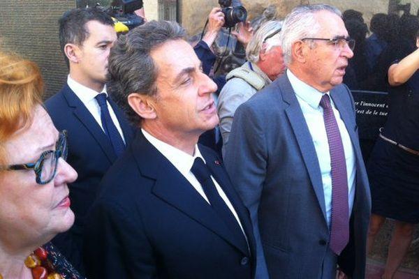 Nicolas Sarkozy à côté du maire de Perpignan le 23 septembre 2016.