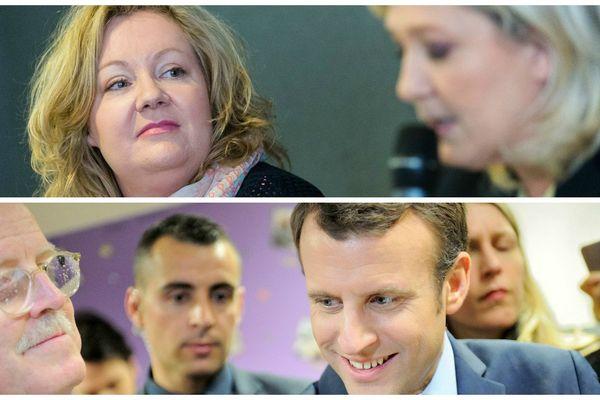 Sophie Montel avec Marine Le Pen, Front National et Jean-Yves Caullet avec Emmanuel Macron, en MArche