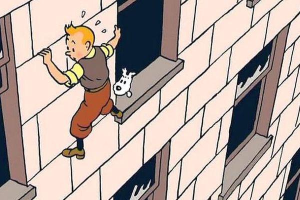Tintin et Milou dans l'exposition de Sommerset House à Londres