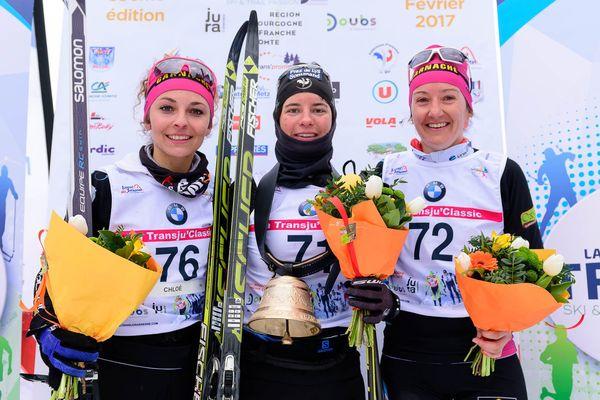 De gauche à droite Chloé Pellegrini (2e), Marie KROMER (1ère), Chloé BLANC (3e)