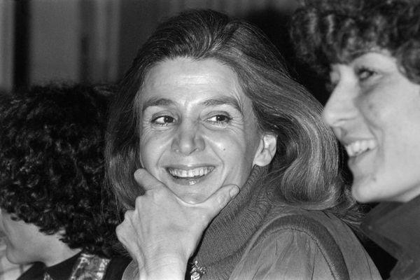 """L'avocate Gisèle Halimi, présidente du mouvement """"Choisir"""", lors d'un débat le 6 mars 1978 au Havre."""