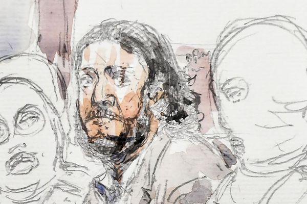 Croquis de Salah Abdeslam pendant son procès, le 5 février 2018.