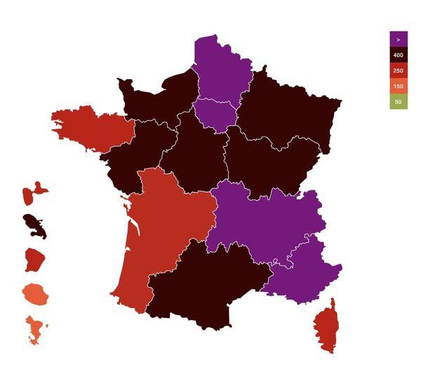 Nombre de cas sur 7 jours pour 100 000 habitants par région au 15 avril 2021. À cette date, l'incidence moyenne en France s'élève à 408.