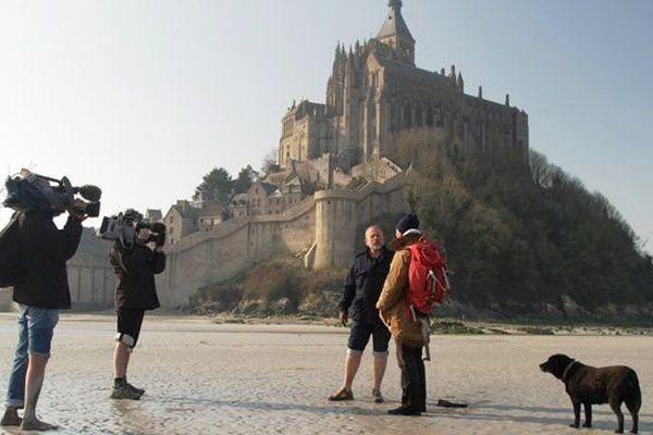 Tournage de l'émission Histoire de se balader au Mont Saint Michel