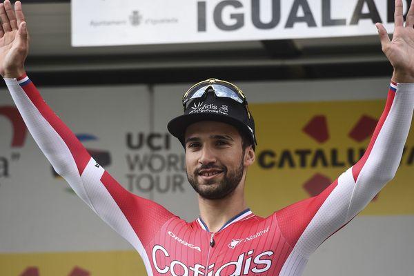 Nacer Bouhanni après une victoire d'étape dans le Tour de Catalogne en mars dernier