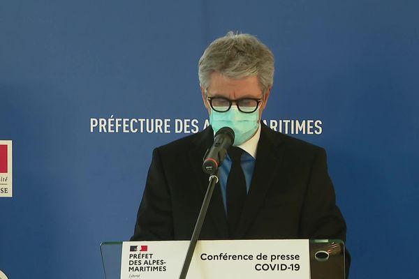 Le préfet des Alpes-Maritimes, Bernard Gonzalez tient une conférence de presse