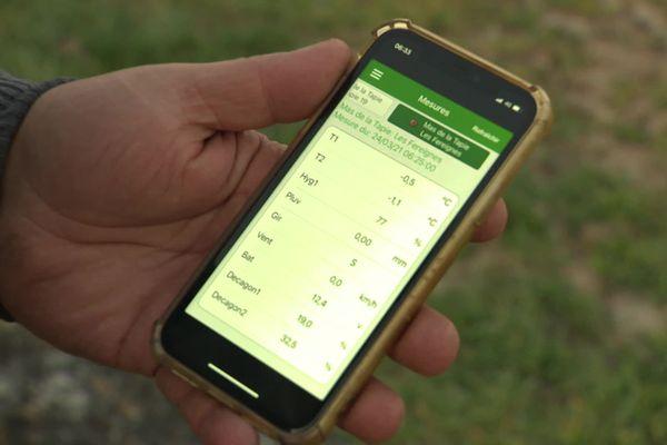 L'arboriculteur scrute les températures en direct sur une application. - Jonquières-Saint-Vincent (Gard) - 24 mars 2021