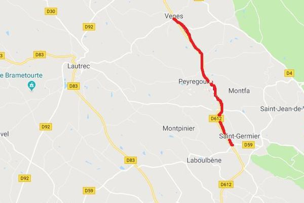 La circulation est totalement coupée, jusqu'au 30 août, sur la D 612 entre Saint-Germier et Peyregoux (en rouge sur la carte). La déviation est mise en place à partir de Venès vers Lautrec.