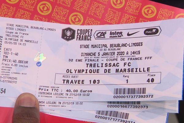 Les billets pour le 32e de finale de coupe de France entre Trélissac et l'Olympique de Marseille.