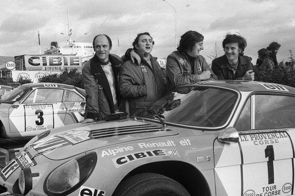 Tour de Corse 1973: Jean Luc Thérier (troisième en partant de la gauche) avec Bernard Darniche, Jean-Pierre Nicolas et Jean-François Piot