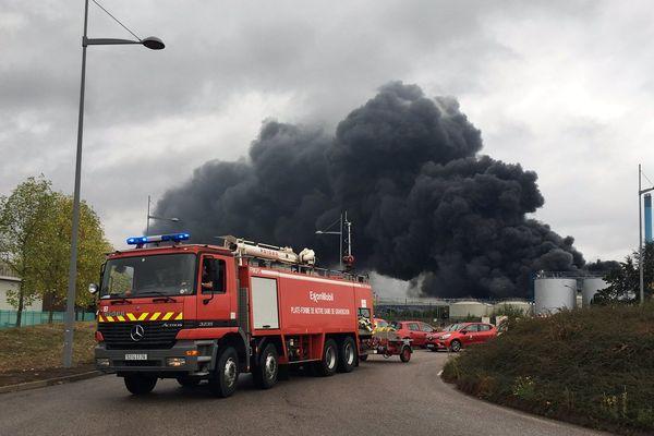 Des sapeurs-pompiers en intervention à Lubrizol à Rouen, le 26 septembre 2019.