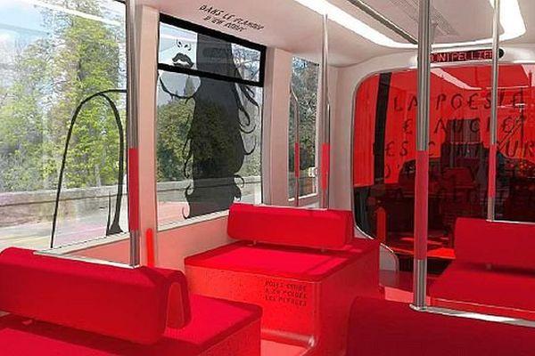 """Montpellier - simulation de l'intérieur de la future ligne 5 de tramway sur le thème """"street art"""" - 18 octobre 2013."""