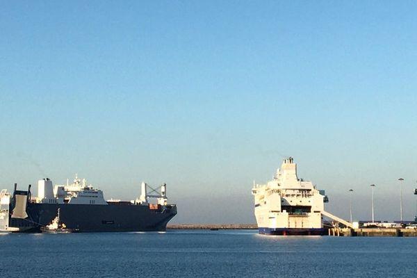 Le Bahri Yanbu dans le port de Cherbourg ce jeudi 6 février vers 17 heures