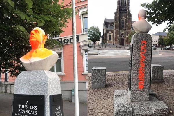 """Un buste du Général de Gaulle a été vandalisé durant la nuit, un acte """"ignoble"""" pour le maire d'Hautmont."""