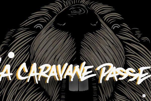 """La marmotte, logo du festival avec l'un des groupes programmés cette année : """"La caravane passe""""."""