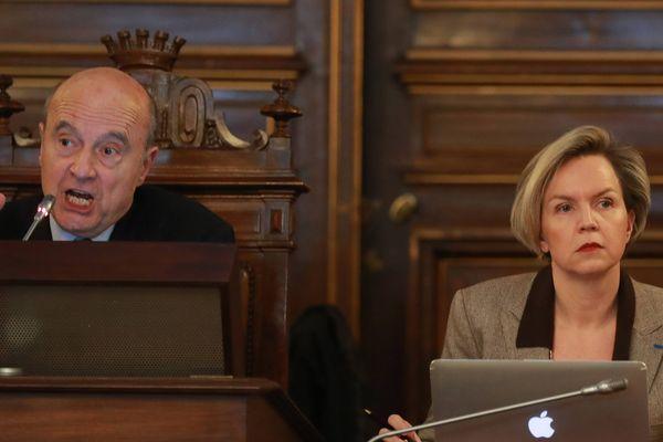 Alain Juppé et Virginie Calmels lors d'une session du Conseil municipal de Bordeaux  le 2 février 2018.