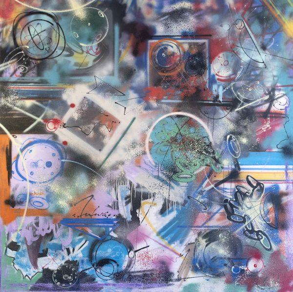 FUTURA 2000,1985. Expo street art au château de Forbin (Marseille, Bouches-du-Rhône).