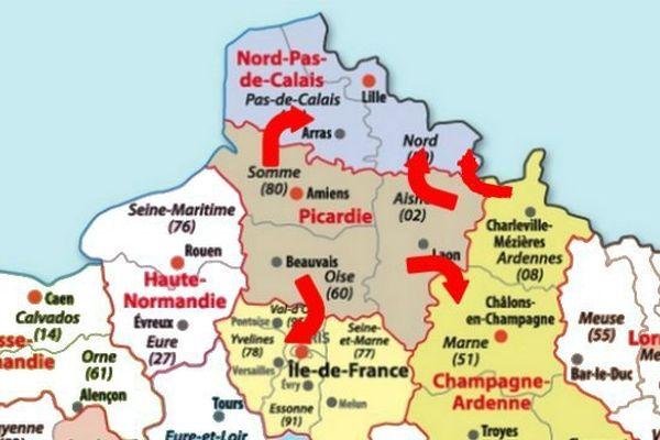 Les Ardennes, la Somme et une partie de l'Aisne rattachés au Nord Pas-de-Calais ?