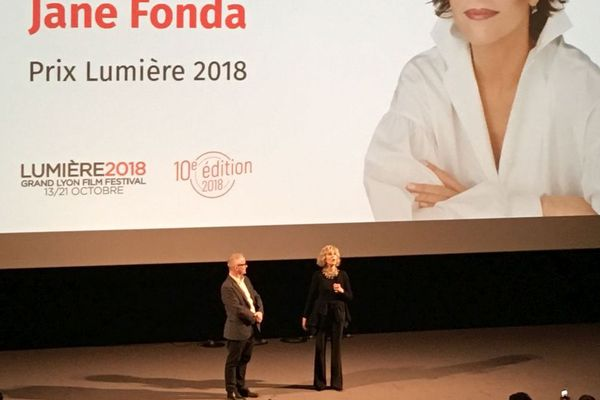 Jane Fonda lors de sa première apparition à Lyon aux côtés de Thierry Fremaux