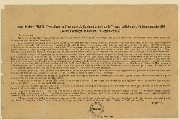 La lettre de Henri Fertet écrite à la Citadelle avant d'être fusillé