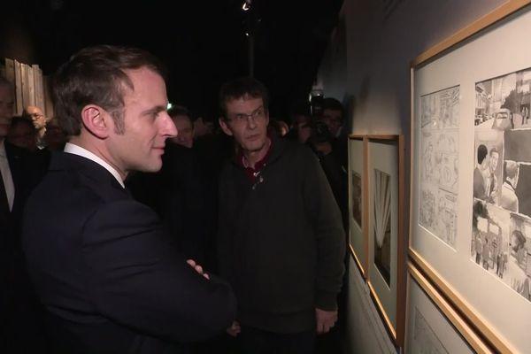 Emmanuel Macron a visité l'exposition Pierre Christin à Angoulême