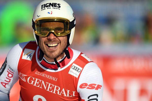 Le Savoyard Johan Clarey à la fin de sa descente aux mondiaux de Garmisch, samedi 1er février.