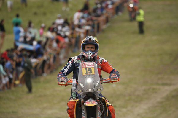 Antoine Méo sur sa moto KTM lors de la 14e et dernière étape disputée samedi autour de Cordoba en Argentine.