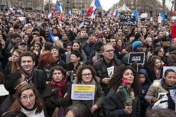 La marche républicaine à Paris, dimanche 11 janvier 2015, après les attentats commis du 7 au 9 janvier 2015.