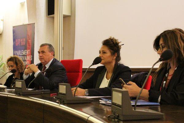De gauche à droite : Leïla Slimani, Olivier Carré, Fawzia Zouari et Sedef Ecer.