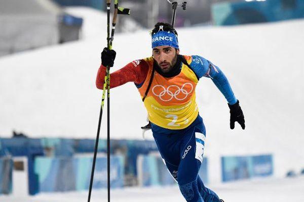 Martin Fourcade lors du relais masculin de biathlon vendredi 23 février à Pyeongchang.