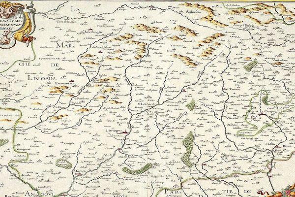 Extrait d'une carte de l'évêché de Limoges en 1634 (archives départementales de la Corrèze)